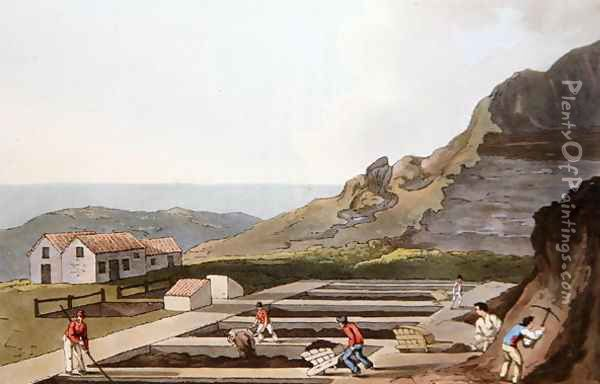 Alum Works, from Costume of Yorkshire engraved by Robert Havell (1769-1832) 1814 Oil Painting - George Walker