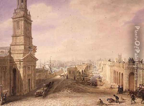 Old and New London Bridges, 1831 Oil Painting - George the Elder Scharf