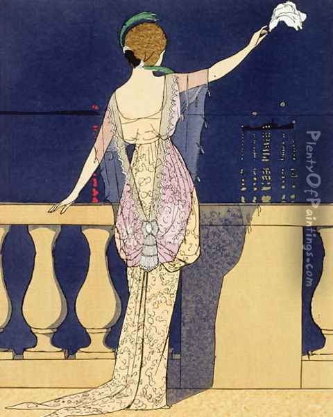Farewell at Night, design for an evening dress Oil Painting - Georges Barbier