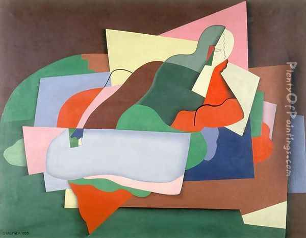 Reclining Man, 1925 Oil Painting - Georges Valmier