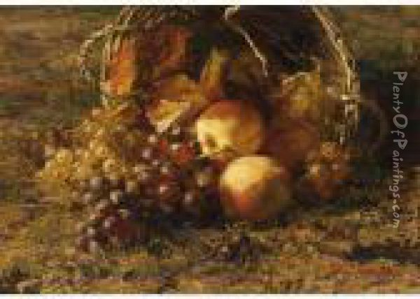 A Still Life With Grapes And Apples In A Basket Oil Painting - Geraldine Jacoba Van De Sande Bakhuyzen