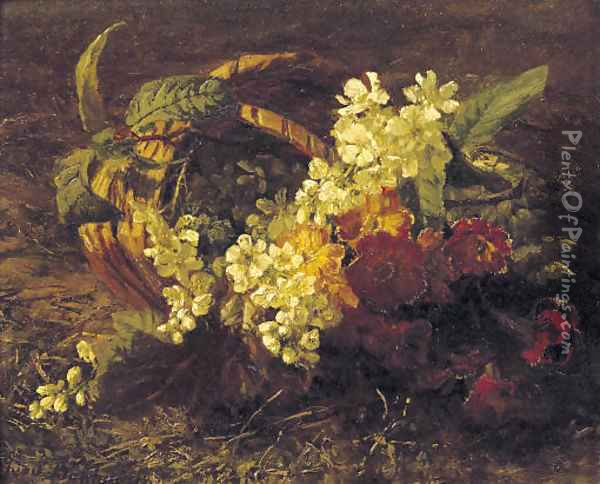 Cherryblossem and primroses in a basket Oil Painting - Geraldine Jacoba Van De Sande Bakhuyzen
