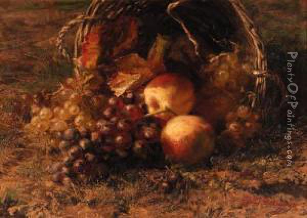 Grapes And Apples In An Overturned Basket On A Forest Floor Oil Painting - Geraldine Jacoba Van De Sande Bakhuyzen