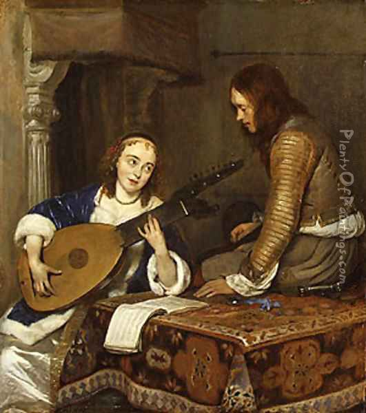 A Woman Playing the Theorbo Lute and a Cavalier ca 1658 Oil Painting - Gerard Ter Borch
