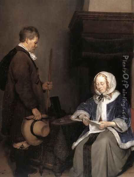 Lady Reading a Letter (detail) Oil Painting - Gerard Ter Borch