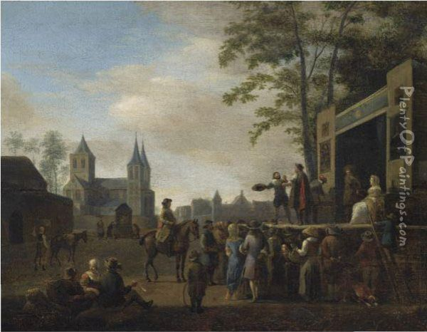 A Stage Play In A Village Street, With Numerous Villagers Watching,a Church In The Background Oil Painting - Gerrit Adriaensz Berckheyde
