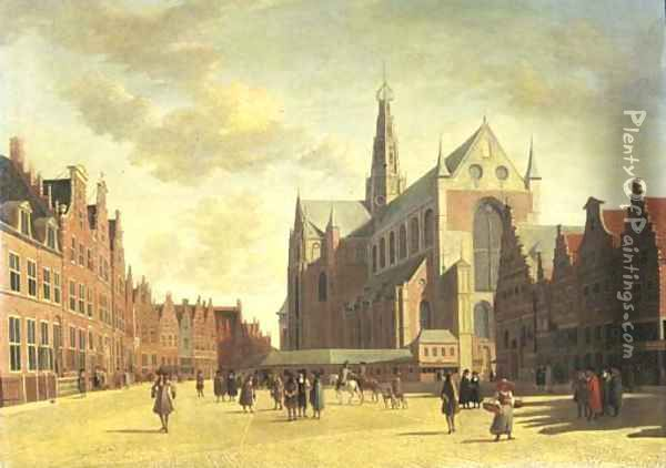 A view of Haarlem with St. Bavo's Cathedral Oil Painting - Gerrit Adriaensz Berckheyde