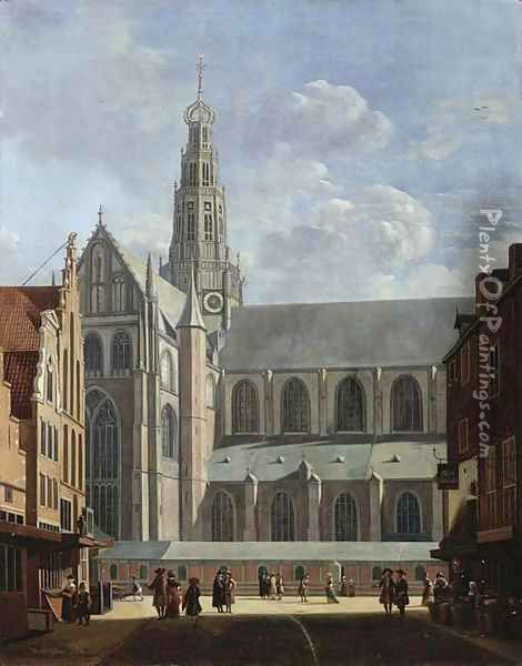A view of the north transept of the St. Bavo Church from the Smedestraat in Haarlem Oil Painting - Gerrit Adriaensz Berckheyde