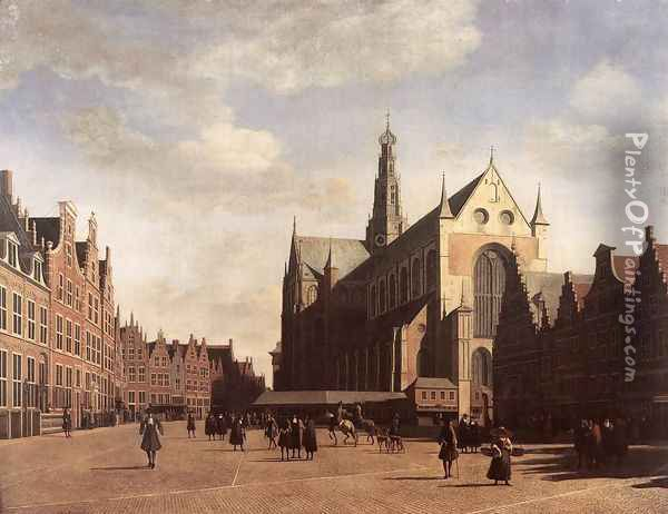 The Market Square at Haarlem with the St Bavo 1696 Oil Painting - Gerrit Adriaensz Berckheyde