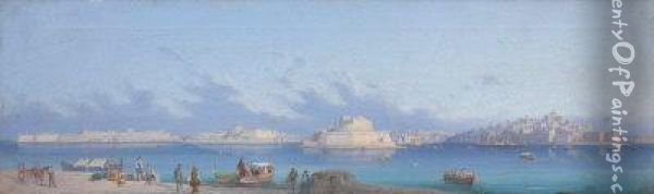 A View Of The Grand Harbour, Malta With Fort St. Angelo Andsenglea. Oil Painting - Gian Gianni