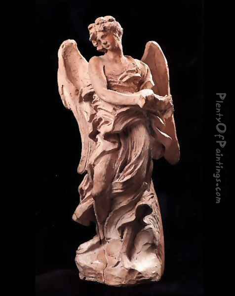 The Angel of the Crown of Thorns Oil Painting - Gian Lorenzo Bernini
