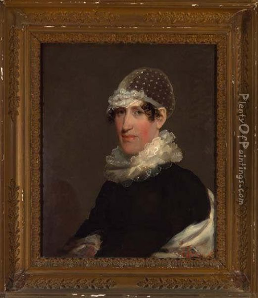 Portrait Of A Woman In Lace Cap And Collar Oil Painting - Gilbert Stuart