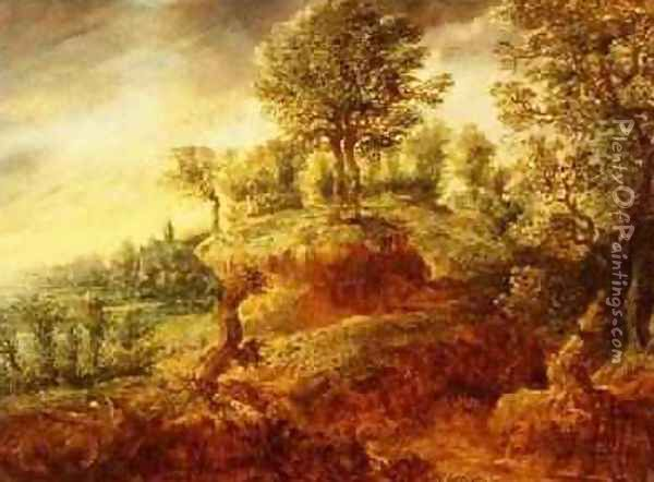 A wooded landscape with a wagon on a path and a church beyond Oil Painting - Gilles Neyts