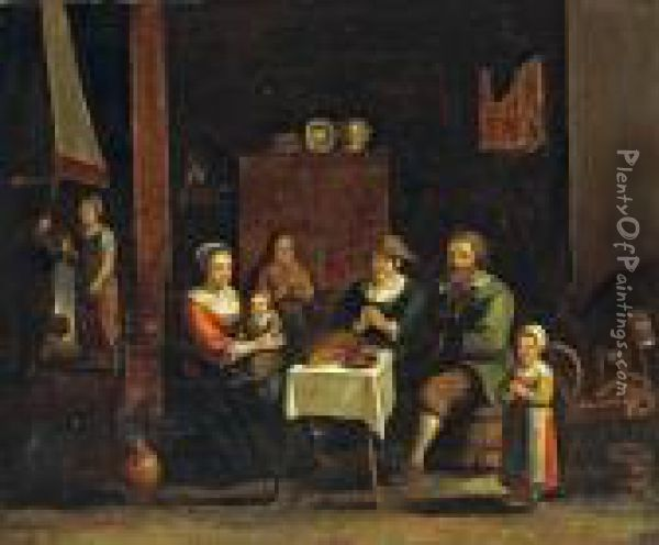 A Family Saying Grace In A Kitcheninterior Oil Painting - Gillis van Tilborgh