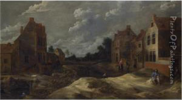 A Hilly Village Street With A Man Drinking In Front Of A Tavern Oil Painting - Gillis van Tilborgh