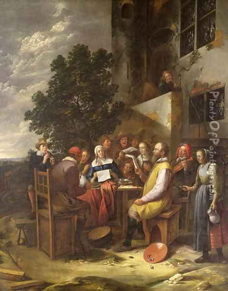 A Musical Party Oil Painting - Gillis van Tilborgh