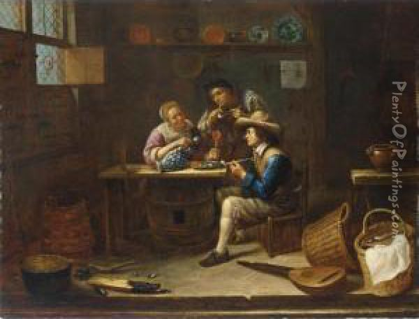 A Tavern Interior With Men And A Woman Smoking And Drinking Around A Table Oil Painting - Gillis van Tilborgh