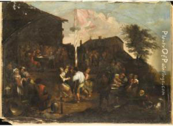 A Village Fete With Figures Outside A Tavern Merrymaking And Dancing Round A Maypole Oil Painting - Gillis van Tilborgh