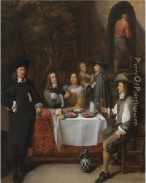 An Elegant Company At A Table In An Interior Oil Painting - Gillis van Tilborgh