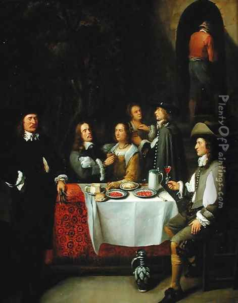 An Elegant Company at a Table on a Terrace, 1660s Oil Painting - Gillis van Tilborgh