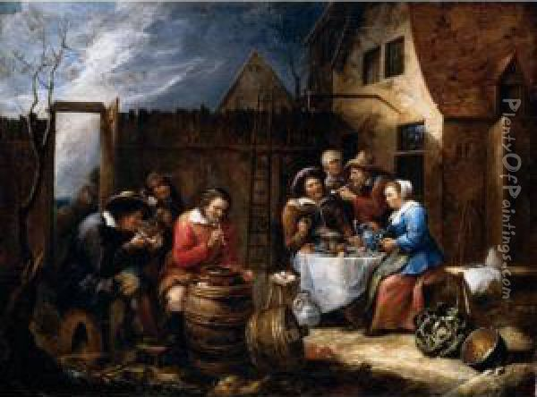 Boors Eating Drinking And Smoking Outside A Cottage Oil Painting - Gillis van Tilborgh