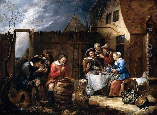 Boors Eating Drinking and Smoking outside a Cottage 1657 Oil Painting - Gillis van Tilborgh