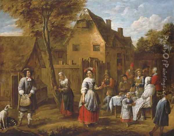 Elegant figures gathering around a table in a courtyard Oil Painting - Gillis van Tilborgh