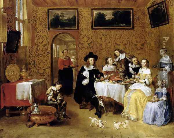 Family Portrait Oil Painting - Gillis van Tilborgh