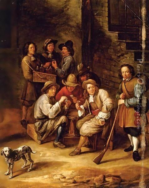 Figures Drinking And Gambling In A Courtyard Oil Painting - Gillis van Tilborgh