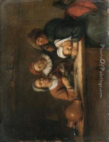Peasants Sitting At A Table In An Interior Oil Painting - Gillis van Tilborgh