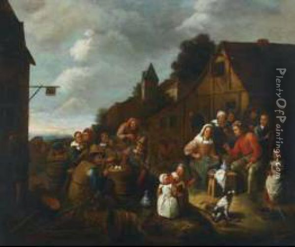 Village Peasants Merrymaking Outside An Inn Oil Painting - Gillis van Tilborgh