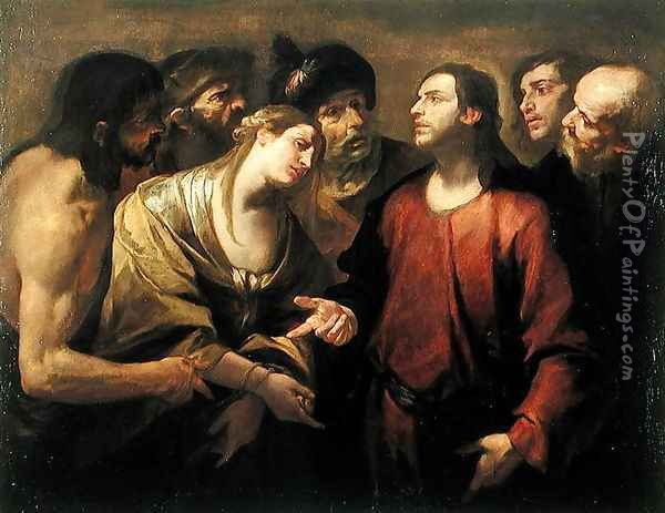 Christ and the Woman taken in Adultery Oil Painting - Gioacchino Assereto