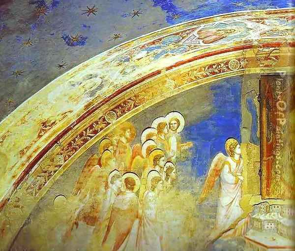 The Mission Of Archangel Gabriel Detail 1 1302-1305 Oil Painting - Giotto Di Bondone