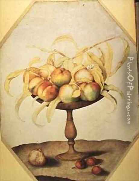 Bowl of Peaches Oil Painting - Giovanna Garzoni