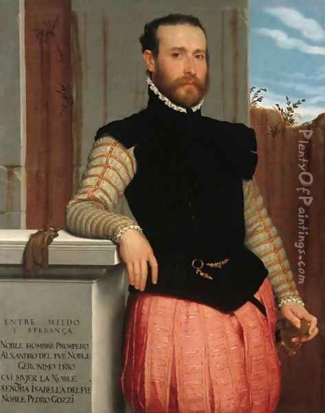 Portrait of Prospero Alessandri 1560 2 Oil Painting - Giovanni Battista Moroni