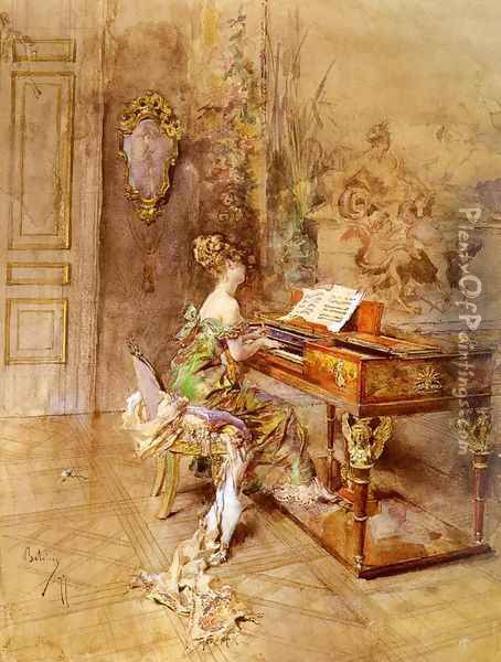 La Pianista Oil Painting - Giovanni Boldini