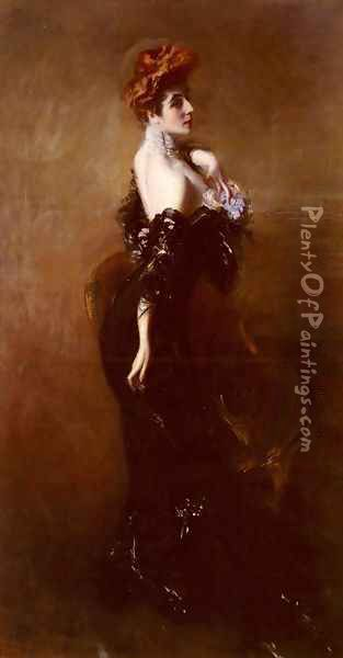 Portrait Of Madame Pages In Evening Dress Oil Painting - Giovanni Boldini