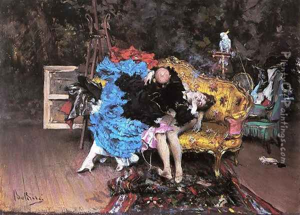 The Model And The Mannequin Oil Painting - Giovanni Boldini