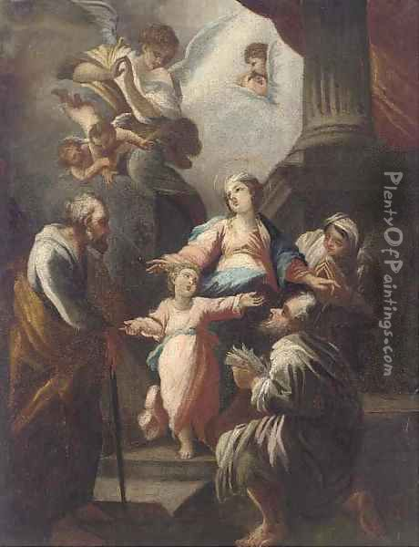 The Holy Family with saints and angels Oil Painting - Giovanni Camillo Sagrestani