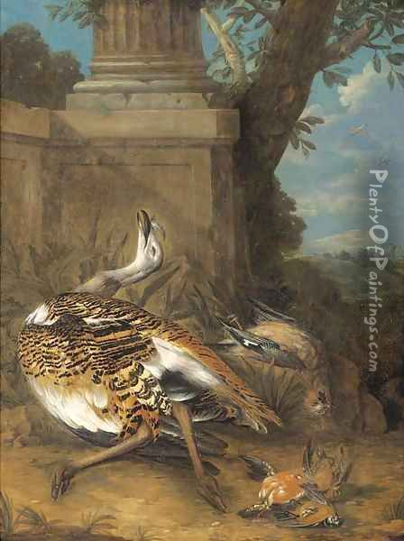Dead birds by a plinth in a clearing Oil Painting - Giovanni Crivelli, Il Crivellone