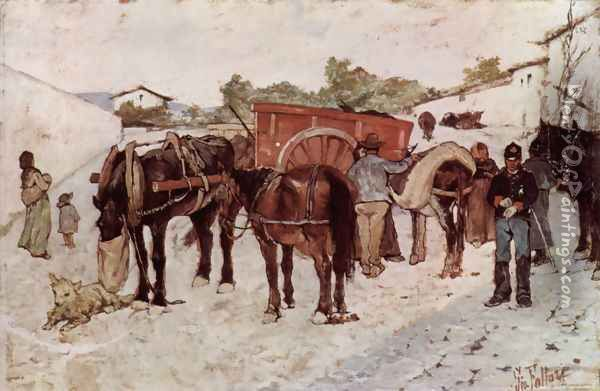 Country road with peasants and soldiers Oil Painting - Giovanni Fattori