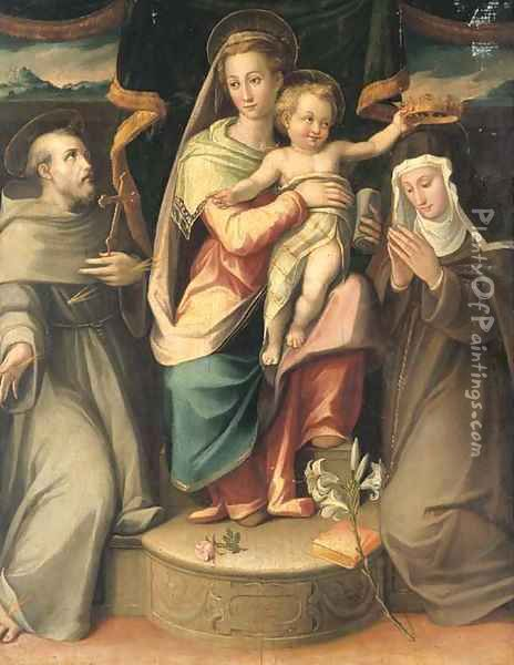 The Madonna and Child with Saints Francis and Clare Oil Painting - Giovanni Maria Butteri