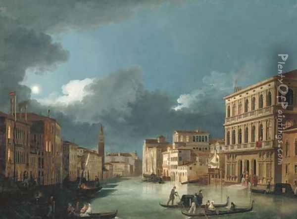 The Grand Canal, Venice, looking north-west, from the Palazzo Corner to the Palazzo Contarini dagli Scrigni, by moonlight... Oil Painting - Giuseppe Bernardino Bison