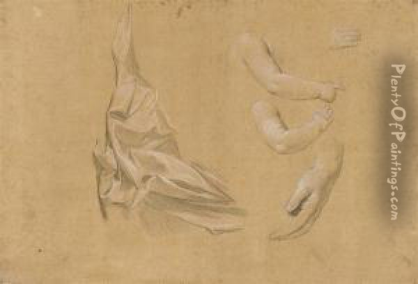 A Drapery Study With Subsidiary Studies Of An Infant's Arm And Twostudies Of Hands Oil Painting - Giuseppe Bottani