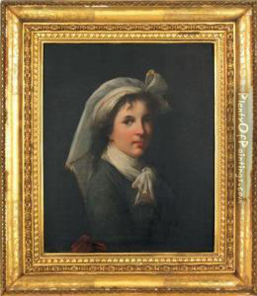 Portrait Of A Young Woman Oil Painting - Giuseppe Mazzolini