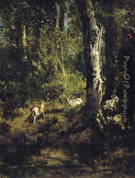 Goats Grazing in a Forest Landscape Oil Painting - Giuseppe Palizzi