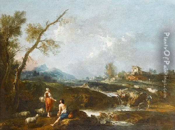 A River Landscape With Pastoral 