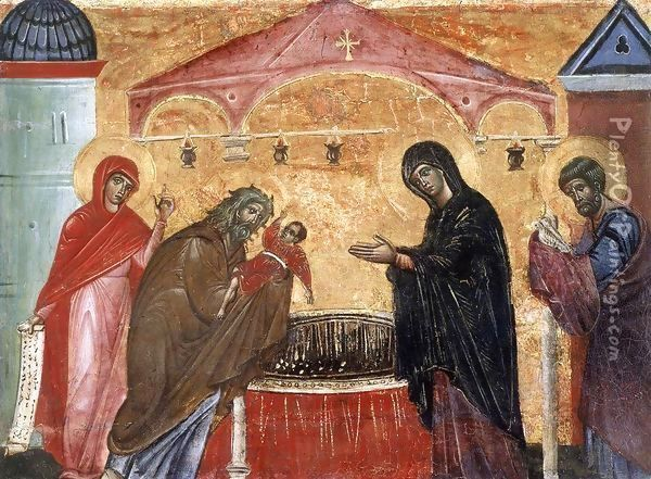 Presentation of Jesus at the Temple Oil Painting - Guido Da Siena
