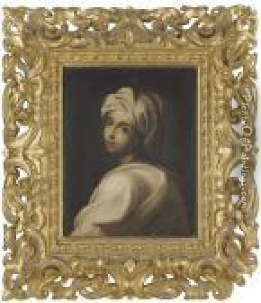 Portrait Of A Girl In A White Headdress Oil Painting - Guido Reni