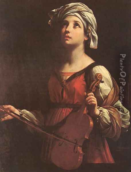 St Cecilia 1606 Oil Painting - Guido Reni